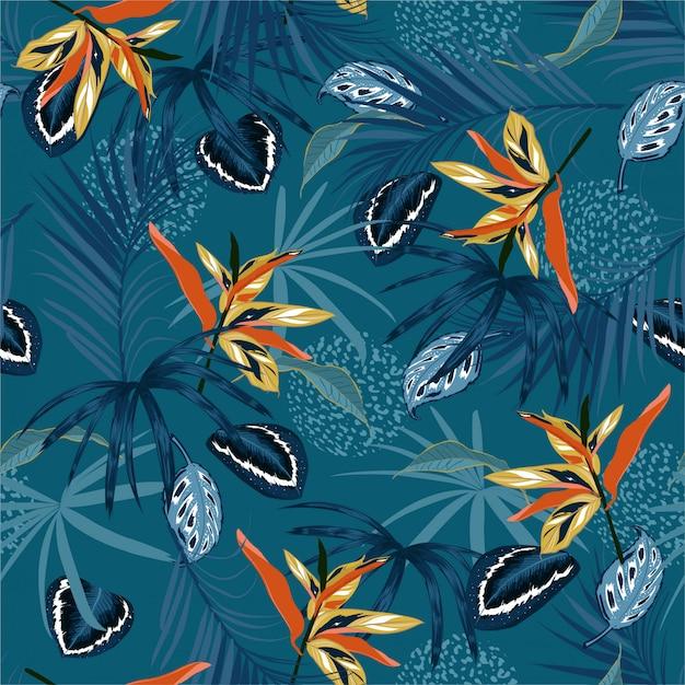 Elegante padrão sem emenda vector escuro selva tropical e folhas de palmeira monótona, palnts exóticas com design floral de pele de animal Vetor Premium