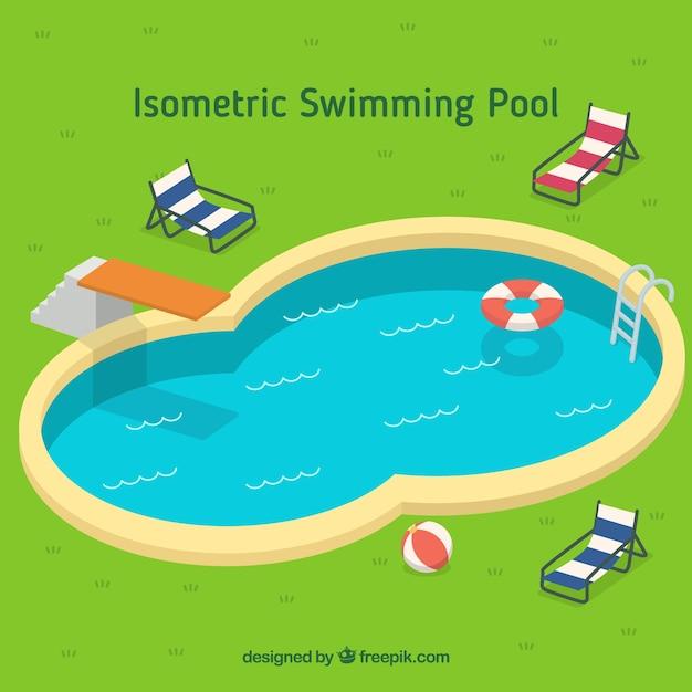 Elegante piscina com elementos do verão Vetor grátis