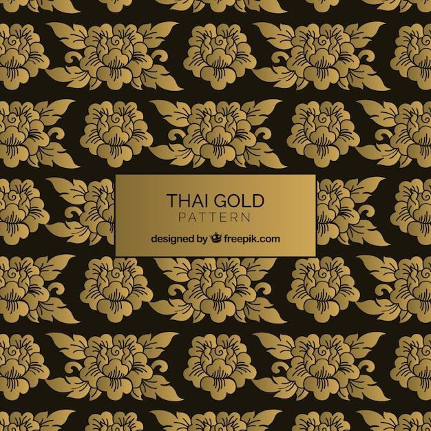 Elegante, tailandês, padrão, com, dourado, estilo Vetor grátis