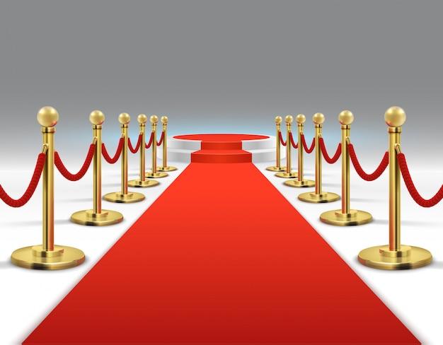 Elegante tapete vermelho com pódio redondo. estilo de vida de celebridades, prestígio e glamour Vetor Premium