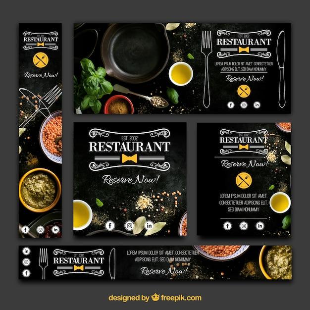 Elegante variedade de bandeiras de restaurantes Vetor grátis