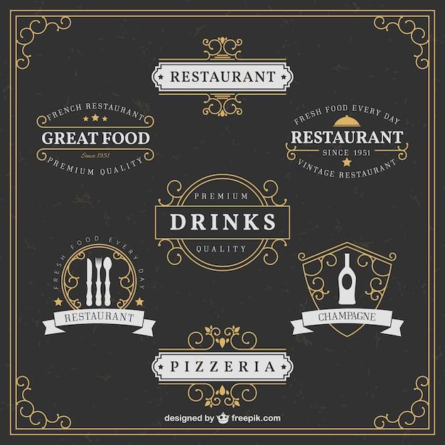 Elegantes logos restaurante Vetor grátis