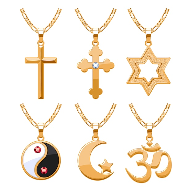 Elegantes rubis, gemas joias e símbolos religiosos, pingentes para conjunto de colar ou pulseira. bom para presente de joias. Vetor Premium