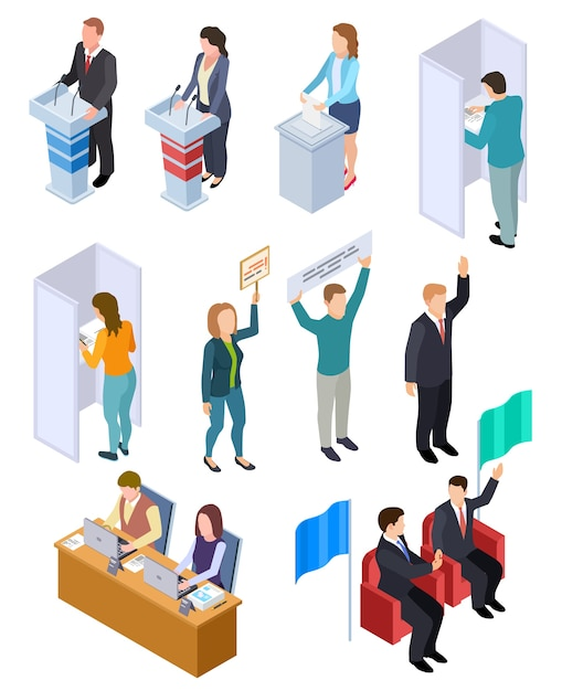 Eleição de pessoas isométrica. cédula política, voto pessoas democracia conjunto de ilustração Vetor Premium