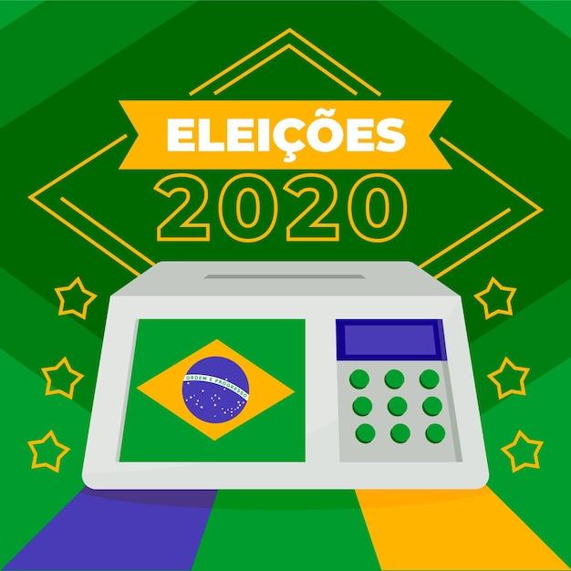 Eleição frontal das urnas no brasil Vetor Premium