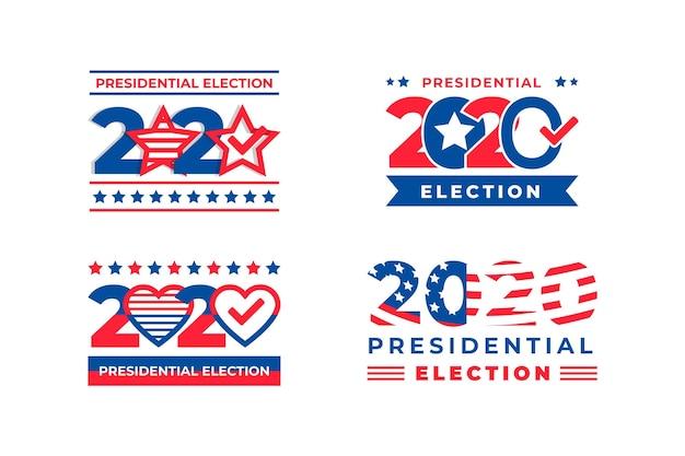 Eleição presidencial de 2020 nos logotipos dos eua Vetor Premium