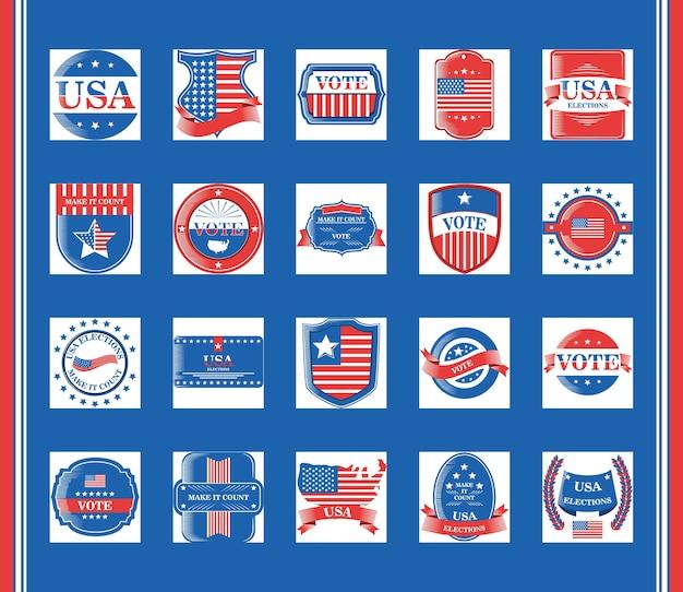 Eleições dos estados unidos e votação do pacote de estilo detalhado de design de ícones, dia dos presidentes Vetor Premium