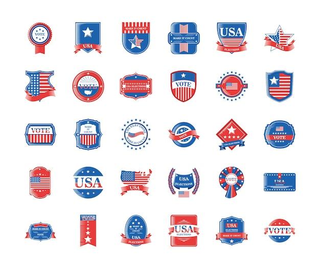 Eleições dos eua e votação detalhada de estilo 30 cenografia de ícones, dia dos presidentes Vetor Premium