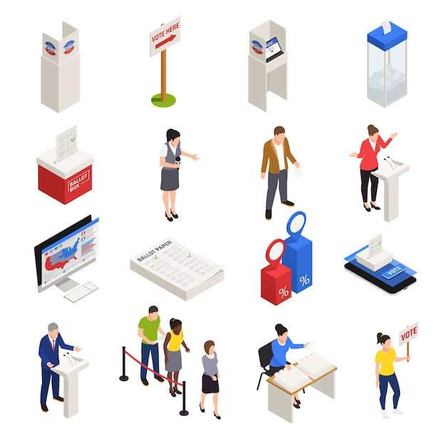Eleições e ícones de votação conjunto isométrico isolado Vetor grátis