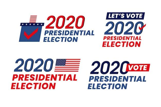 Eleições presidenciais dos eua em 2020 - logotipos Vetor grátis