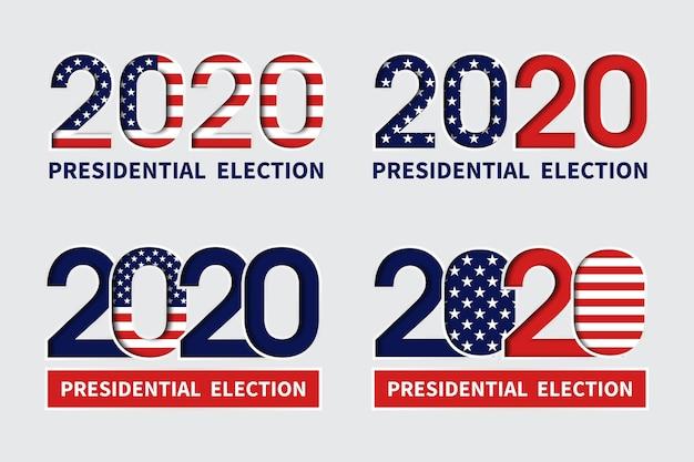 Eleições presidenciais dos eua em 2020 - logotipos Vetor Premium