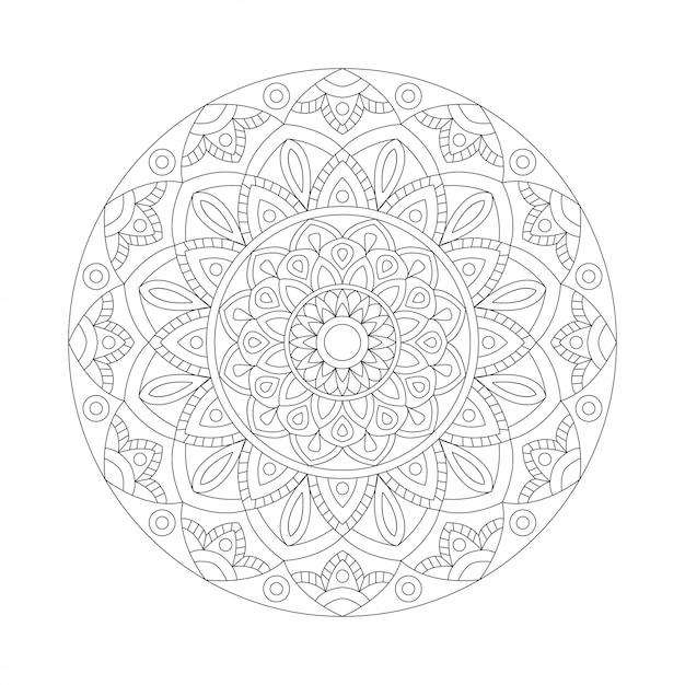 Elemento abstrato preto branco design. mandala redonda em vetor. modelo gráfico para seu projeto. padrão circular Vetor Premium
