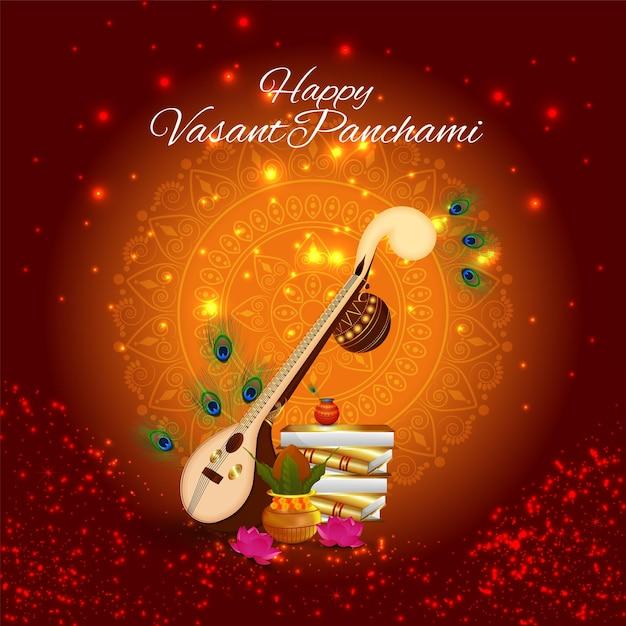 Elemento criativo veena para um fundo de celebração vasant panchami feliz Vetor Premium