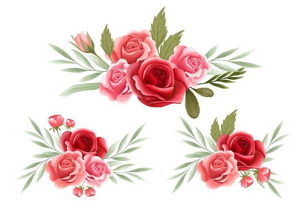 Elemento de arranjo floral rosa para cartão de casamento Vetor Premium