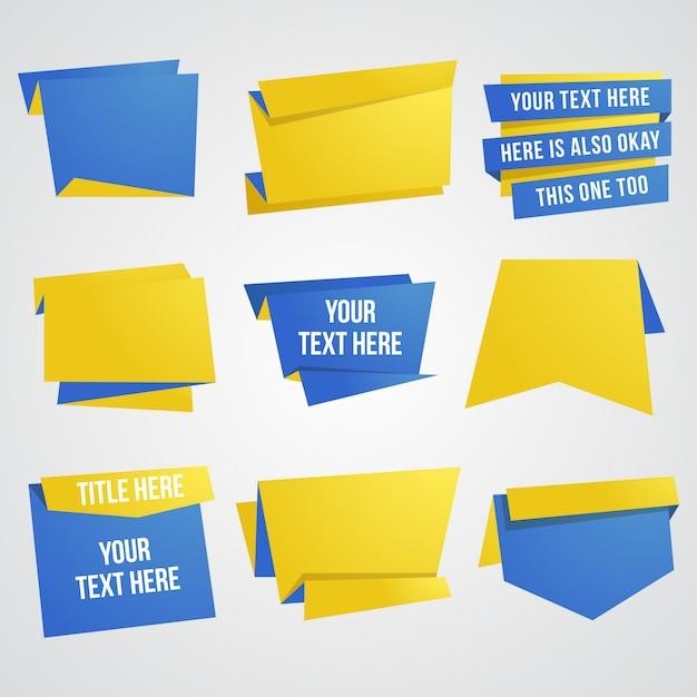 Elemento de design de banner e fita de papel definido em azul e amarelo Vetor Premium
