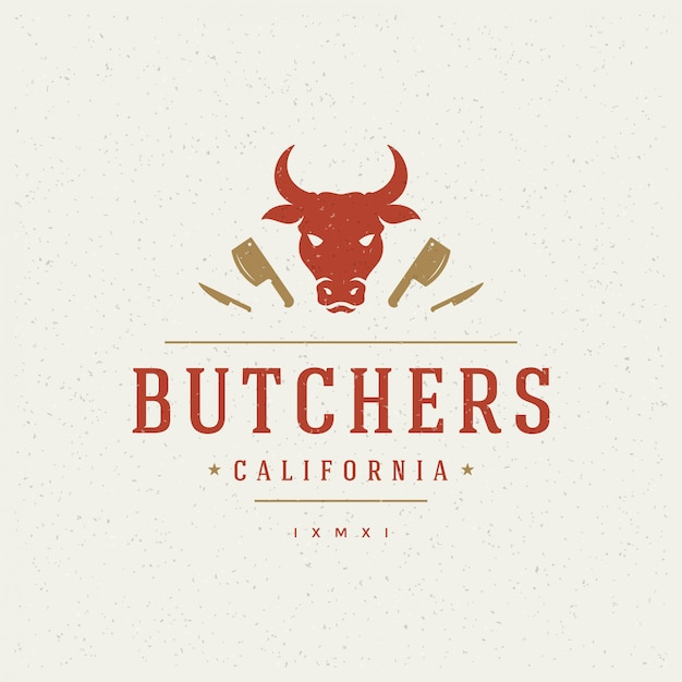 Elemento de design de loja de carniceiro em estilo vintage para logotipo Vetor Premium