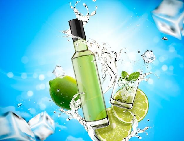 Elemento de design mojito refrescante com respingos de líquido e limão, cubos de gelo e fundo azul bokeh Vetor Premium