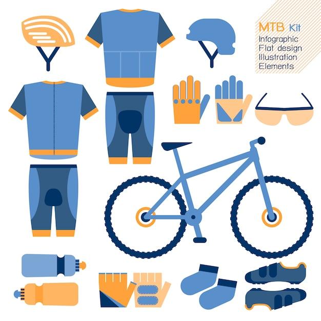 Elemento de design plano infográfico de kit de bicicleta de montanha. Vetor Premium