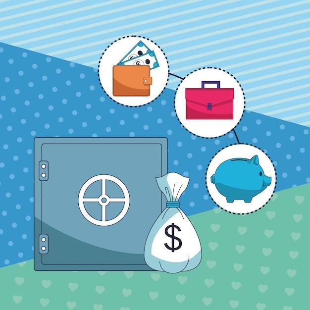 Elemento de dinheiro economizando negócios Vetor Premium