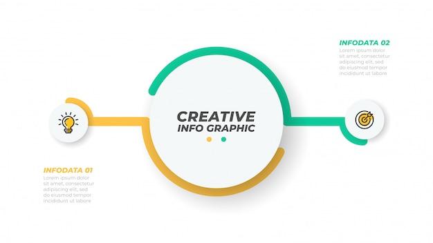 Elemento de dois infográficos. conceito de negócio com 2 opções, etapas ou processos. visualização de dados. ilustração vetorial Vetor Premium