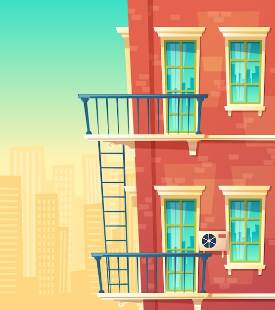 Elemento de fachada de casa, edifício multistoried, apartamentos da cidade Vetor Premium