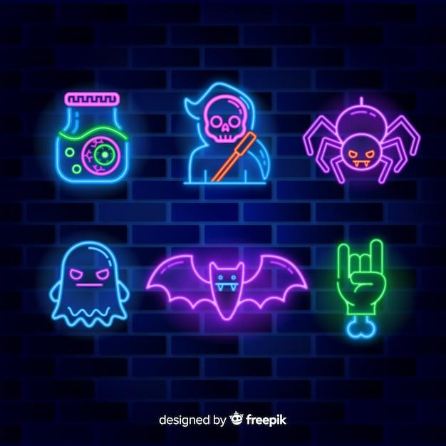 Elemento de halloween com sinais de néon Vetor grátis