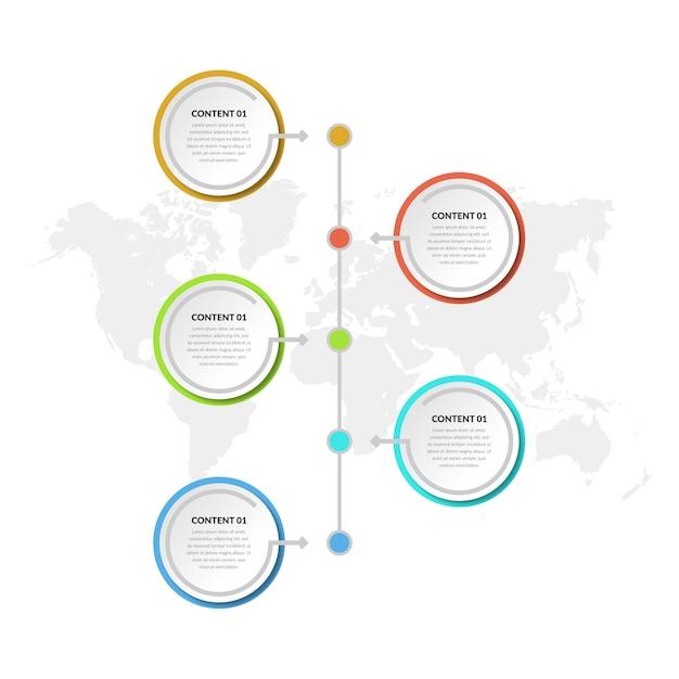 Elemento de infográfico abstrato de cinco pontos estratégia de negócios Vetor Premium