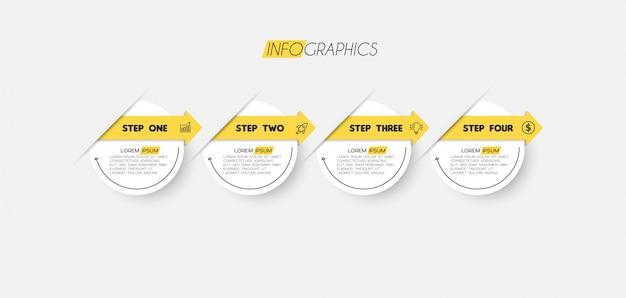 Elemento de infográfico com ícones e 4 opções ou etapas Vetor Premium