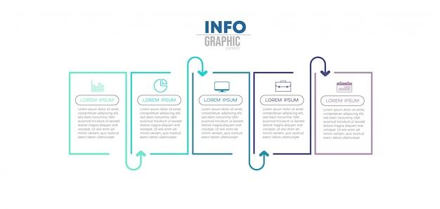 Elemento de infográfico com ícones e 5 opções ou etapas Vetor Premium