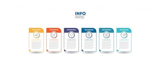 Elemento de infográfico com ícones e 6 opções ou etapas. pode ser usado para processo, apresentação, diagrama, layout de fluxo de trabalho, gráfico de informação, design web. Vetor Premium