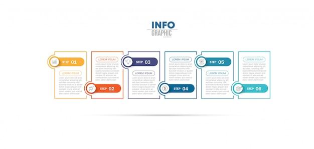 Elemento de infográfico com ícones e 6 opções ou etapas. Vetor Premium