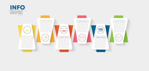 Elemento de infográfico com ícones e 6 opções ou etapas Vetor Premium