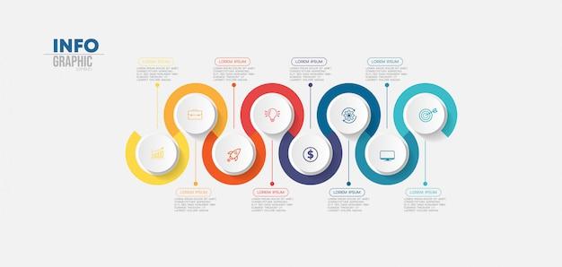 Elemento de infográfico com ícones e 8 opções ou etapas. Vetor Premium