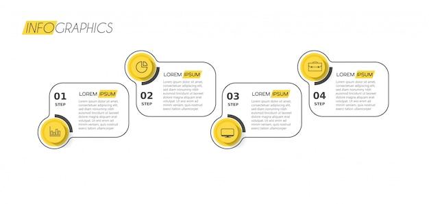 Elemento de infográfico com ícones e opções ou etapas. Vetor Premium