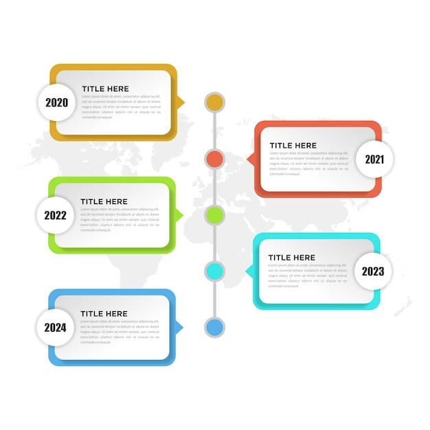 Elemento de infográfico da linha do tempo de cinco pontos para estratégia de negócios Vetor Premium