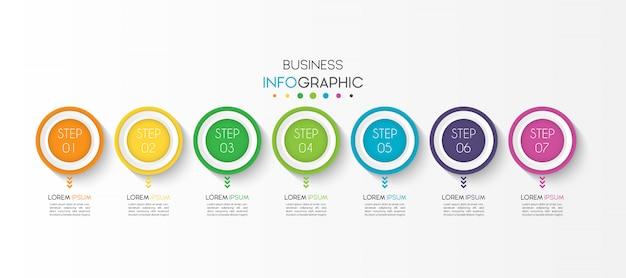 Elemento de infográfico de negócios com 7 opções ou etapas Vetor Premium
