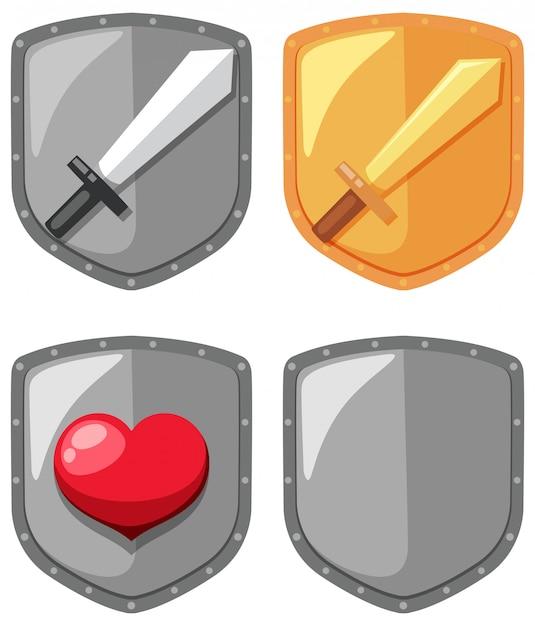 Elemento de jogo de escudo de espada Vetor Premium