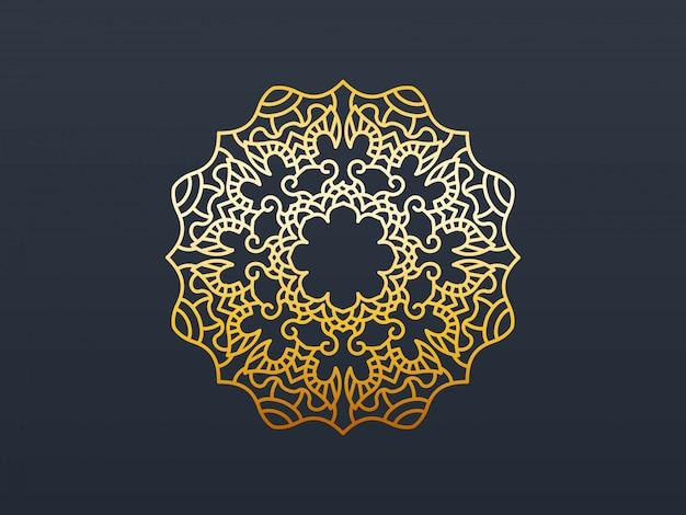 Elemento de mandala de ouro decorativo. Vetor Premium