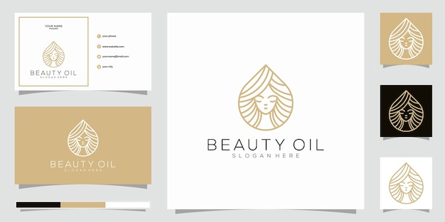 Elemento de modelo de design de logotipo de óleo de beleza e cartão de visita. conceito de óleo de beleza. Vetor Premium