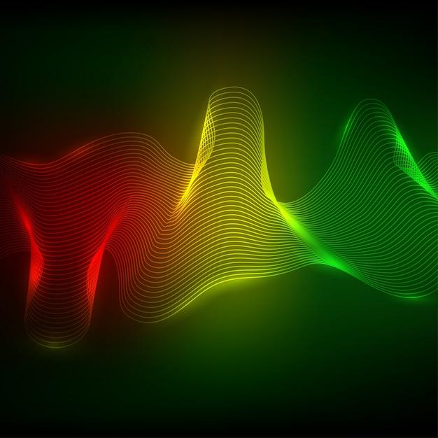 Elemento de onda de néon abstrata para design Vetor Premium