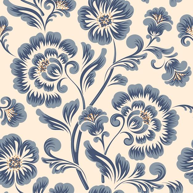 Elemento de padrão de flor à moda antiga de luxo clássico Vetor grátis