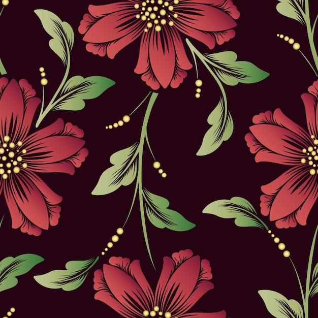 Elemento de padrão sem emenda de flor de vetor. textura elegante para fundos. ornamento floral à moda antiga de luxo clássico, textura perfeita para papéis de parede, têxteis, envolvimento. Vetor grátis