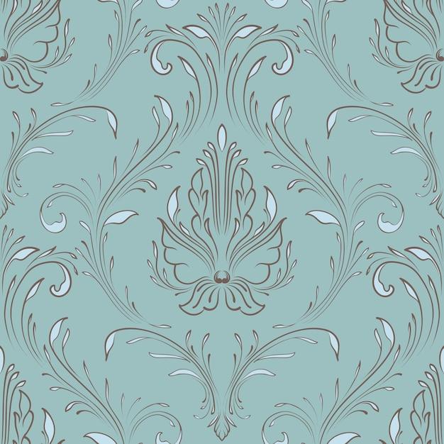 Elemento de padrão sem emenda do vetor do damasco. ornamento de damasco à moda antiga de luxo clássico, textura perfeita real victorian para papéis de parede, têxteis, envolvimento. modelo barroco floral requintado. Vetor grátis