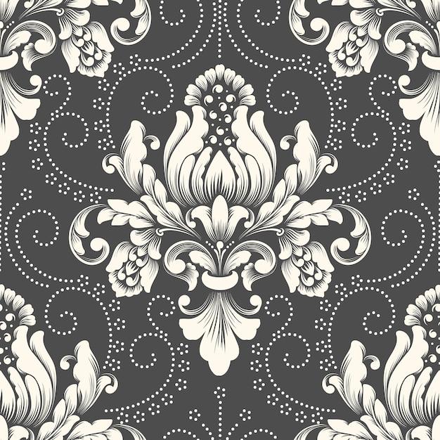 Elemento de padrão sem emenda do vetor do damasco. ornamento de damasco à moda antiga de luxo clássico, textura perfeita real victorian para papéis de parede, têxteis, envolvimento. Vetor grátis
