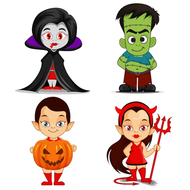 elemento de personagens de desenhos animados assustador de halloween