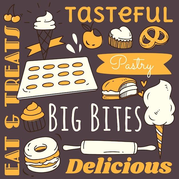 Elemento de plano de fundo do restaurante com comida e bebida doodle Vetor Premium