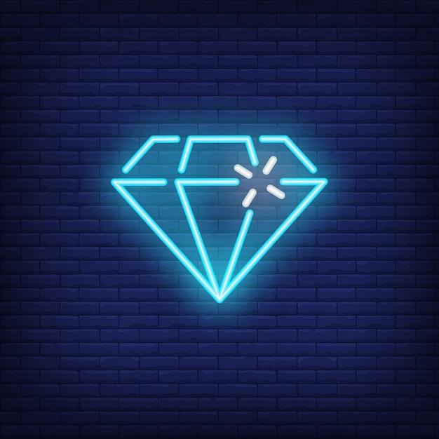 Elemento de sinal brilhante de diamante néon azul. conceito de jogo para propaganda da noite Vetor grátis