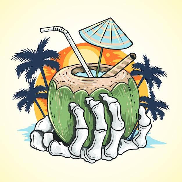 Elemento de vetor de árvore de coco de esqueleto de praia de mão de verão Vetor Premium