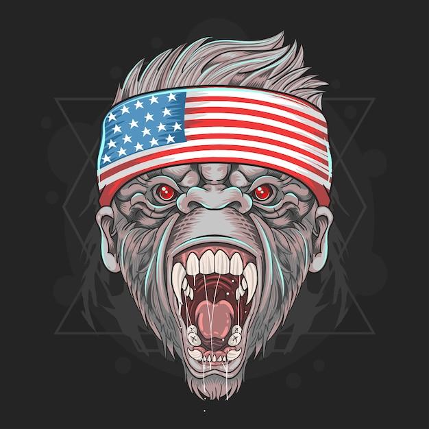 Elemento de vetor de bandeira gorilla america usa Vetor Premium