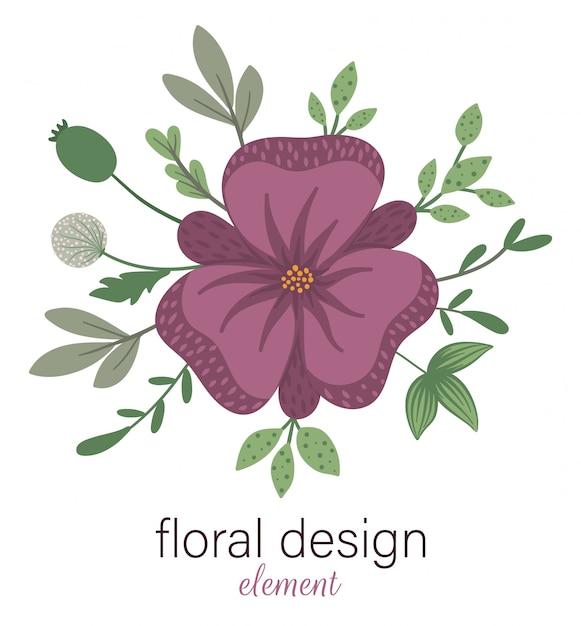 Elemento decorativo redondo floral de vetor. ilustração na moda plana com flores, folhas, galhos. prado, bosques, floresta clip-art. lindo buquê de primavera ou verão isolado no branco Vetor Premium
